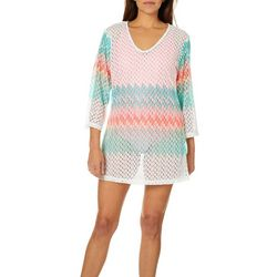 Pacific Beach Womens Crochet Swim Cover-Up