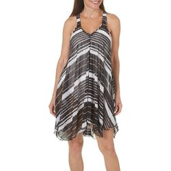 Pacific Beach Womens Stripe Print Tank Swim Cover-Up