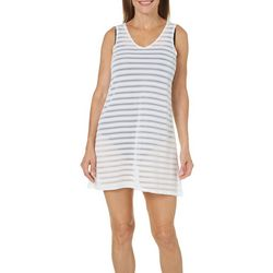 Pacific Beach Womens Textured Stripe Swim Cover-Up