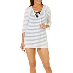 Pacific Beach Womens Popcorn Stripes Swim Cover-Up