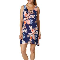Pacific Beach Womens Floral Sleeveless Swim Cover-Up