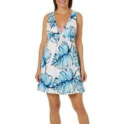 9c3aede075450 Pacific Beach Womens Palm Leaf Empire Waist Swim Cover-Up