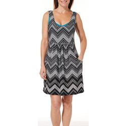 Pacific Beach Womens Chevron Print Dress Swim Cover-Up