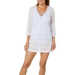 Pacific Beach Womens Geometric Lace Swim Cover-Up