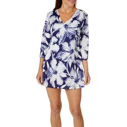 Pacific Beach Womens Hibiscus Tunic Swim Cover-Up