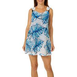 2261b8d8bbc2f Pacific Beach Womens Palm Leaf Sheer Stripe Swim Cover-Up