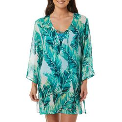 Pacific Beach Womens Tropical Palm Sheer Swim Cover-Up