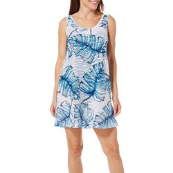 Pacific Beach Womens Palm Leaf Lattice Back Swim Cover-Up