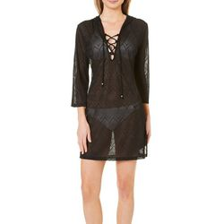 Pacific Beach Womens Chevron Jaquard Lace-Up Hooded Cover Up