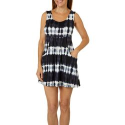 Pacific Beach Womens Tie Dye Sleeveless Cover-Up Dress