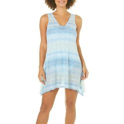 Pacific Beach Womens Ombre Chevron Lace Swim Cover-Up