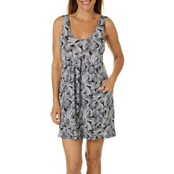 Pacific Beach Womens Leaf Print Swim Cover-Up
