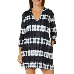 Pacific Beach Womens Hooded Tunic Swim Cover-Up