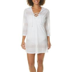 Pacific Beach Womens Jacquard Hooded Swim Cover-Up