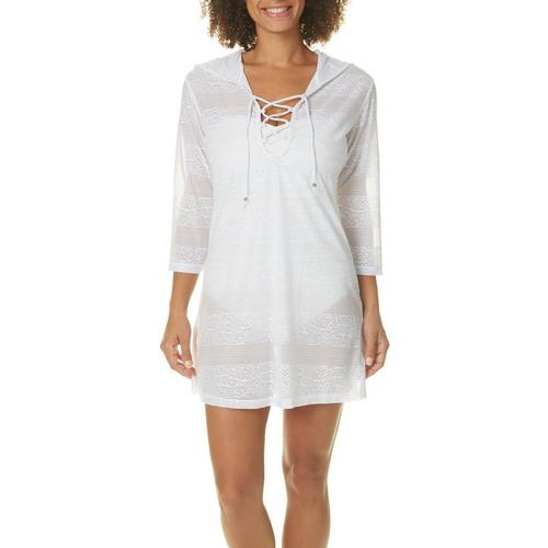 12e2d620ced Pacific Beach Womens Jacquard Hooded Swim Cover-Up
