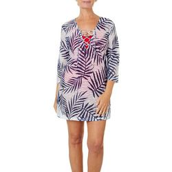 Pacific Beach Womens Palm Print Sheer Stripe Swim Cover-Up