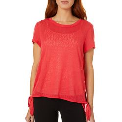 Dept 222 Womens Solid Side Tie Short Sleeve Top