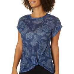 Dept 222 Womens Paisley Twist Front Short Sleeve T-Shirt