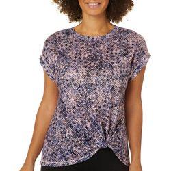 Dept 222 Womens Dots Twist Front Short Sleeve T-Shirt