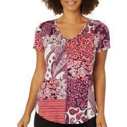 Dept 222 Womens Mixed Patchwork Print V-Neck T-Shirt
