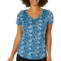 Dept 222 Womens Floral Scroll V-Neck T-Shirt