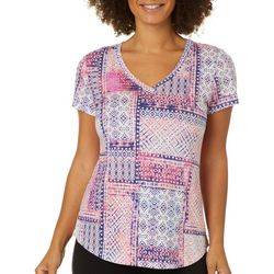 Dept 222 Womens Geometric Batik Print V-Neck T-Shirt