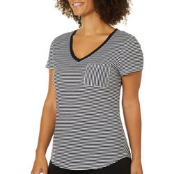 Dept 222 Womens Striped Print Chest Pocket V-Neck T-Shirt