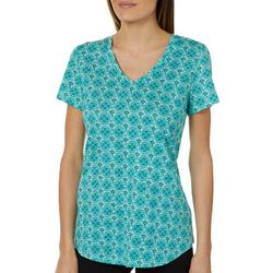 Dept 222 Womens Floral Medallion Short Sleeve Top