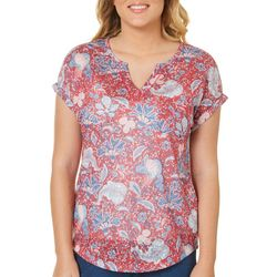 Dept 222 Womens Blooming Floral Pocket Top