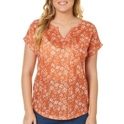 Dept 222 Womens Floral Frenzy Pocket Top