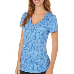 Dept 222 Womens Tropical Palm Leaf Short Sleeve Top