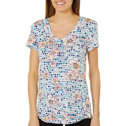 Dept 222 Womens Floral Dot Print T-Shirt