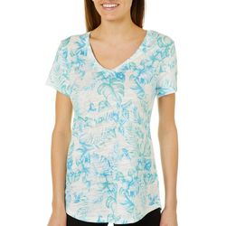 Dept 222 Womens Heathered Tropical Short Sleeve Top