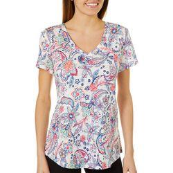 Dept 222 Womens Paisley Floral Print Top