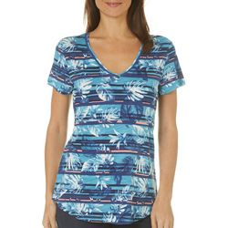 Dept 222 Womens Striped Palm Leaf Top