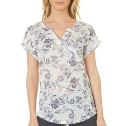 Dept 222 Womens Floral Paisley Pocket Top