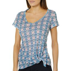 Dept 222 Womens Floral Medallion Side Tie Top