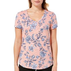 Dept 222 Womens Striped Floral Short Sleeve Top