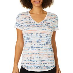 Dept 222 Womens Striped Leaf Print Luxey Top