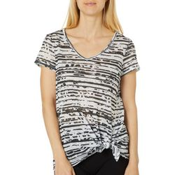Dept 222 Womens Floral Striped Tie Front Top