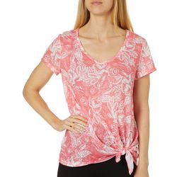 Dept 222 Womens Tropical Floral Side Tie Top