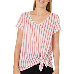 Dept 222 Womens Vertical Stripe Print Side Tie Top