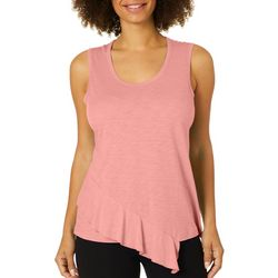 Dept 222 Womens Slub Knit Ruffle Trim Luxey Tank Top
