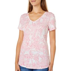 Dept 222 Womens Mixed Paisley Luxey Top