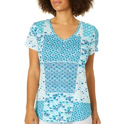 Dept 222 Womens Nautical Patchwork Print Luxey Top