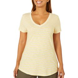 Dept 222 Womens Thin Striped V-Neck Top