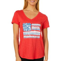 Dept 222 Womens Mixed Print Americana Flag Luxey Top