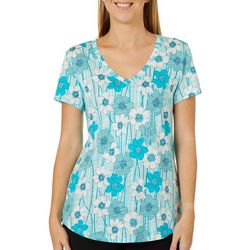 Dept 222 Womens Floral Striped V-Neck Short Sleeve Top