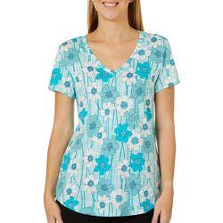 Dept 222 Womens Floral Striped V-Neck Short Sleeve