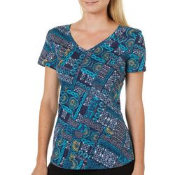 Dept 222 Womens Floral Patchwork Print V-Neck T-Shirt